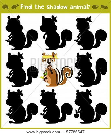 Educational games for children, cartoon for children of preschool age. Find the right shade for Chipmunk with stripes. Vector illustration