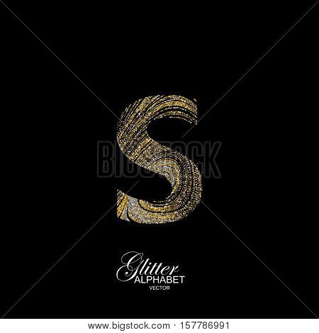 Letter S of golden and silver glitters. Typographic vector element for design. Part of marble texture imitation alphabet. Letter S with diffusion glitter lines swirly pattern. Vector illustration
