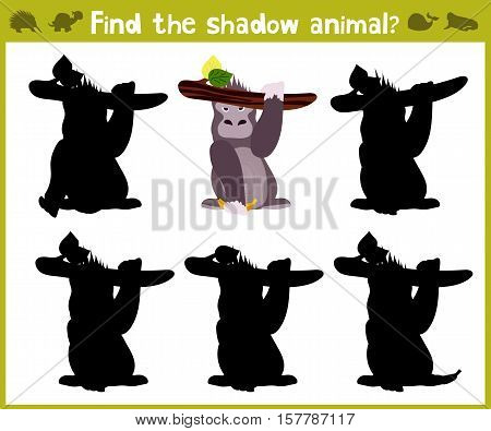Educational games for children, cartoon for children of preschool age. Find the right shade for tropical gorilla. Vector illustration