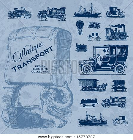 antique transportation set (vector)