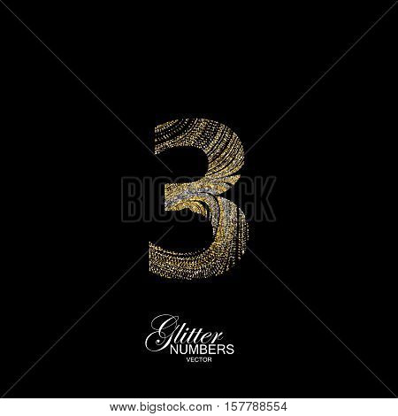 Number 3 of golden and silver glitters. Typographic vector element for design. Part of marble texture imitation alphabet. Digit three with diffusion glitter lines swirly pattern. Vector illustration