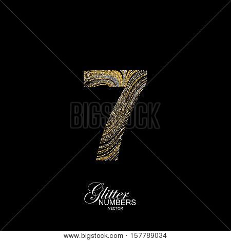 Number 7 of golden and silver glitters. Typographic vector element for design. Part of marble texture imitation alphabet. Digit seven with diffusion glitter lines swirly pattern. Vector illustration