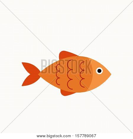 Aquarium fish  flat icon. Vector aquarium fish  silhouette illustration. Colorful cartoon flat aquarium fish icon for your design.