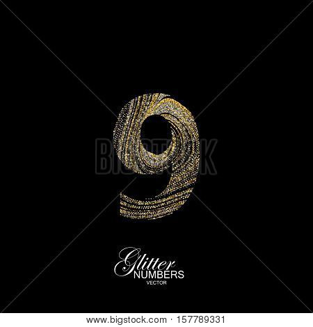 Number 9 of golden and silver glitters. Typographic vector element for design. Part of marble texture imitation alphabet. Digit nine with diffusion glitter lines swirly pattern. Vector illustration
