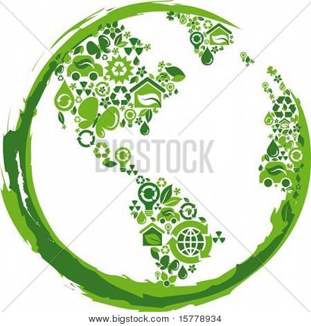 globe outline compose of green  ecological icons
