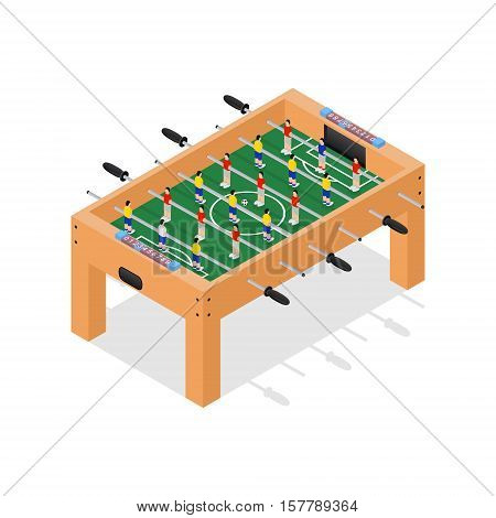 Table Football Game Hobby or Leisure Isometric View. Vector illustration