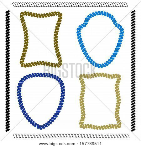 Set of colorful isolated vector frames of rectangular shape and the shape of the shield simulating marine rope on a white background. Vector brushes imitating rope