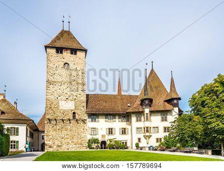 SPIEZ,SWITZERLAND - SEPTEMBER 3,2016 - View at the Castle of Spiez. Spiez Castle is a castle in the municipality of Spiez of the Swiss canton of Bern.
