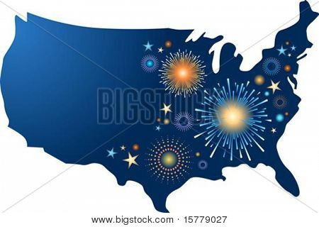 USA map outline with fireworks