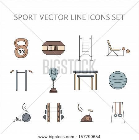 Workout and gym training icons set. Vector bodybuilding, gymnastics icons and symbols collection. Fitness elements. Weightloss, active lifestyle and gym training icons.