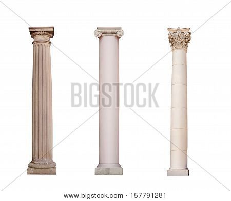ancient columns of Ionic, Doric and Corinthian ordo are isolated on a white background.