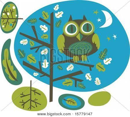Cute owl on a tree, vector illustration