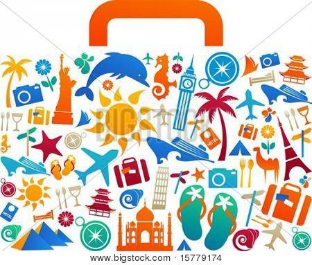 Utazás a bőröndöt a sok színes turizmus és üdülés ikonok