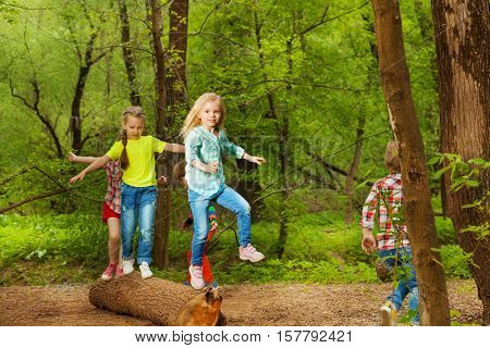 Portrait of happy boys and girls balancing standing on the log in summer forest