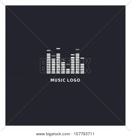 Music equalizer logo. Audio electronic icon. Music waves sign. Dj vector illustration. Black and white radio logo. Music app icon. Minimal player logo on dark background.