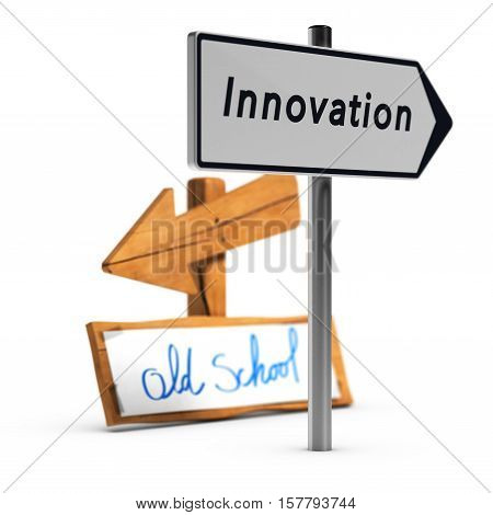 3D illustration of two road signs with text old school and innovation over white background Concept of innovative business
