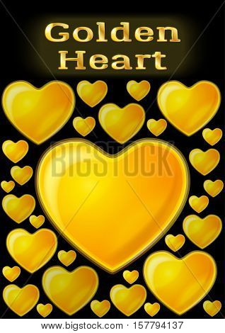 Valentine Holiday Background with Big and Small Shining Golden Hearts, Love Symbols on Black Background. Eps10, Contains Transparencies. Vector