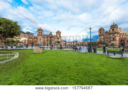 CUSCO PERU-NOV. 9: Cathedral of Santo Domingo on Nov. 9 2015 in Cusco Peru Building was completed in 1654, almost a hundred years after construction began.