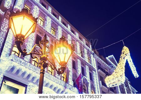 Christmas Light In Central Street, Budapest, Hungary