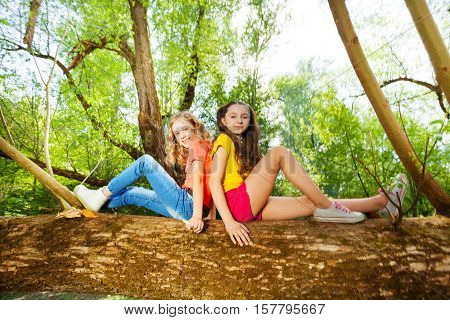 Portrait of two happy girl friends sitting back to back on fallen tree trunk in the forest