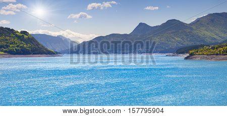 Beautiful panorama of lake Serre-Poncon Alps France.