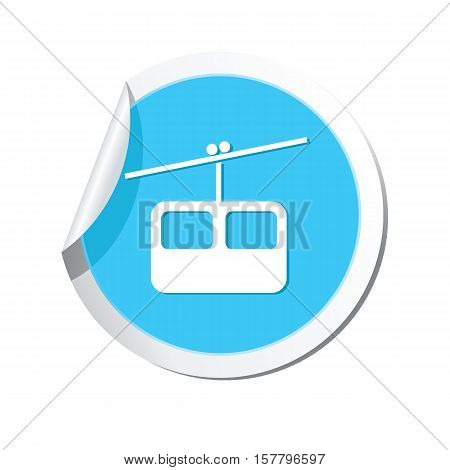 Round sticker with chair lift icon. Vector illustration