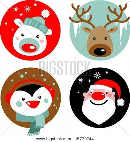 Christmas characters - Santa, reindeer, penguin and polar bear