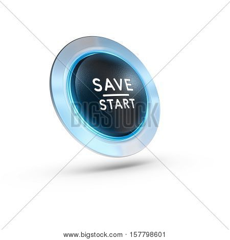 3D illustration of a push button with the text save start over white background. Square image