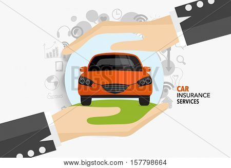 Car insurance business service. Vector illustration concept of insurance.