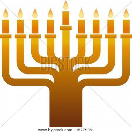 Old golden  Hanukkah menorah