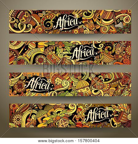 Cartoon cute colorful vector hand drawn doodles Africa corporate identity. 4 horizontal banners design. Templates set