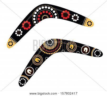 Australian boomerang vector. Aboriginal art boomerang illustration.