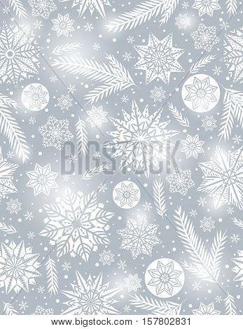 Grey Christmas seamless pattern background with snowflakes and stars vector illustration