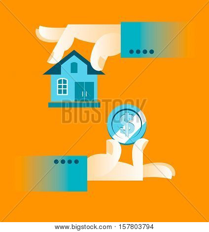 Buying A Home. Hand Holding House