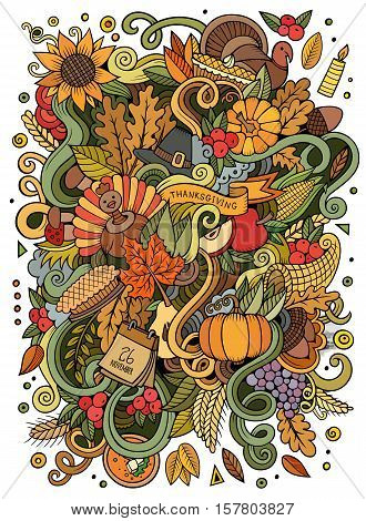 Cartoon cute doodles hand drawn Thanksgiving illustration. Colorful detailed, with lots of objects background. Funny vector artwork