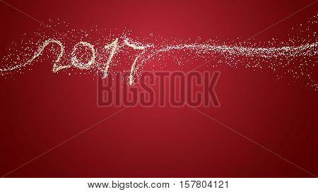 2017 creative red color background design for new year greeting card flyer invitation poster brochure banner calendar. Vector template with snow and copy space