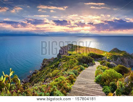 Colorful Spring Sunset On The Cape Milazzo