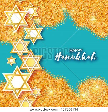 Magen David stars. Papercraft jewish holiday simbol on gold glitter background. Vector design illustration