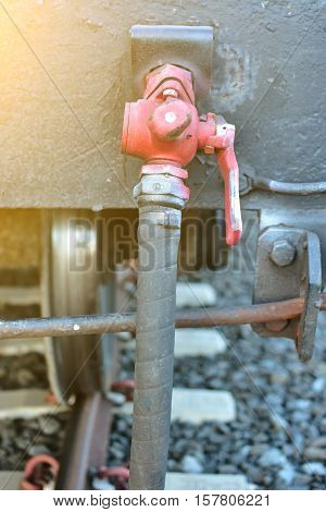 Valves Oil Manual Train. Production Process Used Manual Valve To Control The System, Dirty Or Old Ma