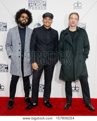 Jillionaire, Walshy Fire and Diplo of Major Lazer at the 2016 American Music Awards held at the Microsoft Theater in Los Angeles, USA on November 20, 2016.