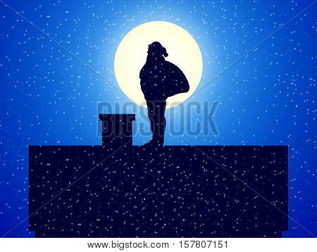 Vector illustration silhouette Santa Claus with gift bag standing on the roof of a house near the pipe. Santa Claus on a background of the night moon. Side view, profile.