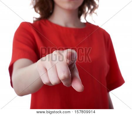 Young woman in casual clothes over white isolated background pointing, showing direction or pushing button, people concept