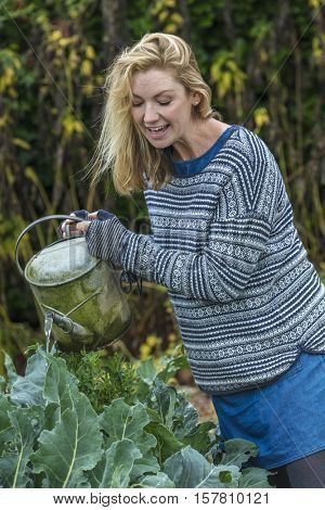 Middle aged blonde woman growing vegetables gardening with watering can