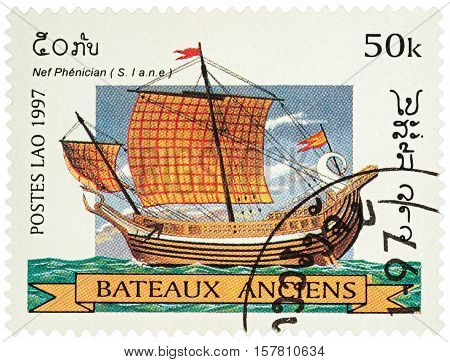 MOSCOW RUSSIA - NOVEMBER 18 2016: A stamp printed in Laos shows ancient Phoenician ship series