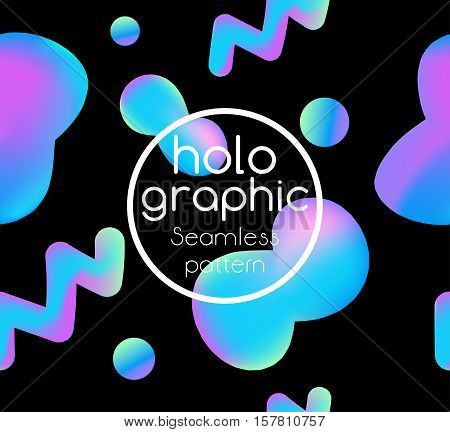 Trend illustration holographic neon bright fluid on black background