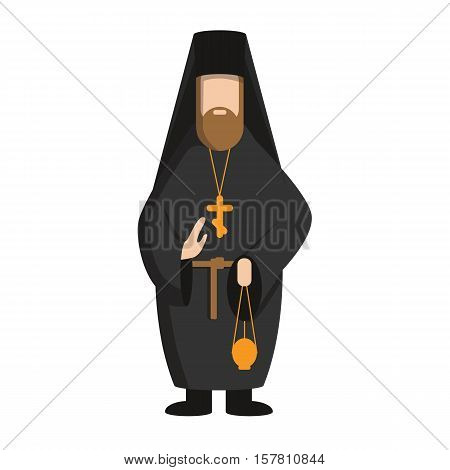 Isolated russian pope standing on white background. Concept of orthodox church.