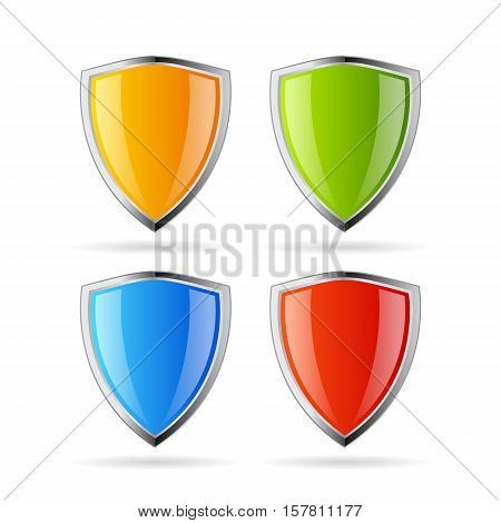 Secure shield icon set vector illustration isolated on white background