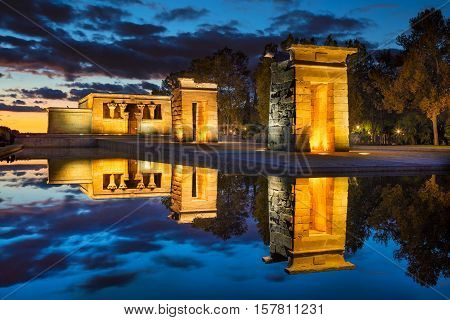Madrid. Image of Temple of Debod in Madrid , Spain during sunset.