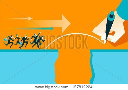 Hand draws a bridge. Business concepst. Vector illustration