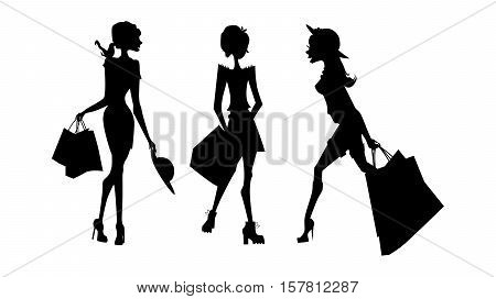 Shopping sillhouettes set. Black sillhouettes of women with shopping bags on white background. Elegant, young and slim women.